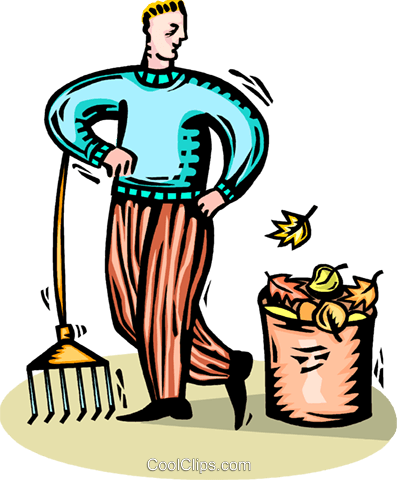 man raking leaves Royalty Free Vector Clip Art illustration vc065805