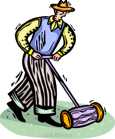 man mowing the lawn Royalty Free Vector Clip Art illustration vc065807