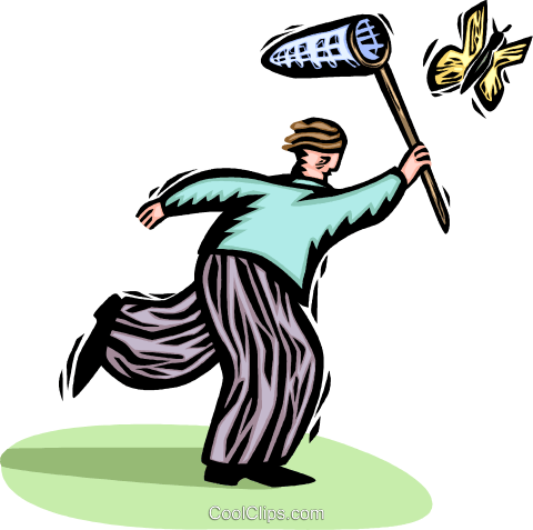 man trying to catch a butterfly Royalty Free Vector Clip Art illustration vc065810
