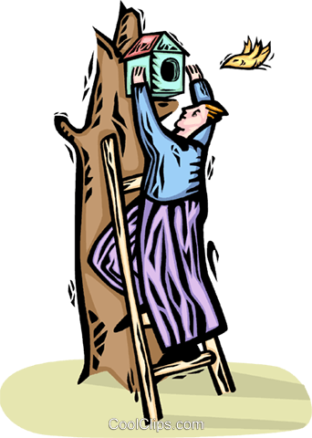 man putting up a birdhouse Royalty Free Vector Clip Art illustration vc065813