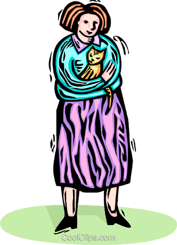woman holding her cat Royalty Free Vector Clip Art illustration vc065814