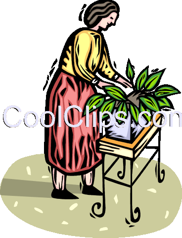 woman tending to her potted plants Royalty Free Vector Clip Art illustration vc065816