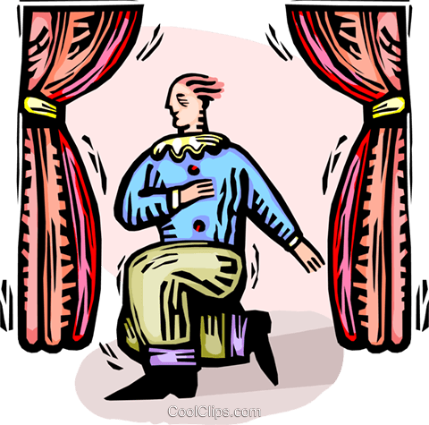 Man acting on stage Royalty Free Vector Clip Art illustration vc065821
