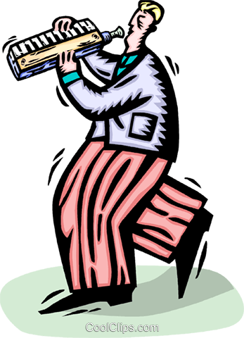 Man playing the mouth organ Royalty Free Vector Clip Art illustration vc065832
