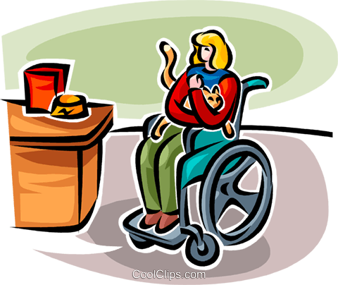 disabled woman in a wheelchair with cat Royalty Free Vector Clip Art illustration vc065838