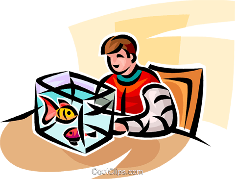 boy with his goldfish in a fish tank Royalty Free Vector Clip Art illustration vc065839