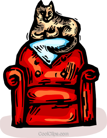 cat sitting on a living room chair Royalty Free Vector Clip Art illustration vc065843