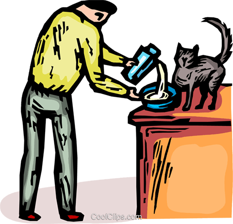 man pouring milk in a bowl for his pet ca Royalty Free Vector Clip Art illustration vc065844