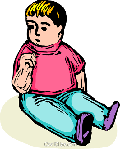 child sitting, about to suck his thumb Royalty Free Vector Clip Art illustration vc065849