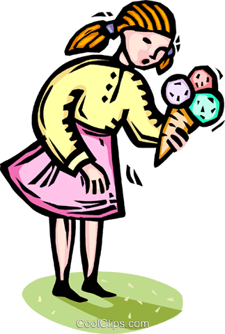 young girl with an ice cream cone Royalty Free Vector Clip Art illustration vc065850