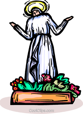 Virgin Mary with flowers Royalty Free Vector Clip Art illustration vc065854
