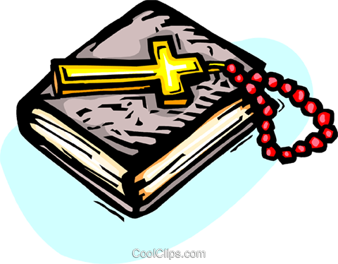 Holy Bible with Crucifix and beads Royalty Free Vector Clip Art illustration vc065858