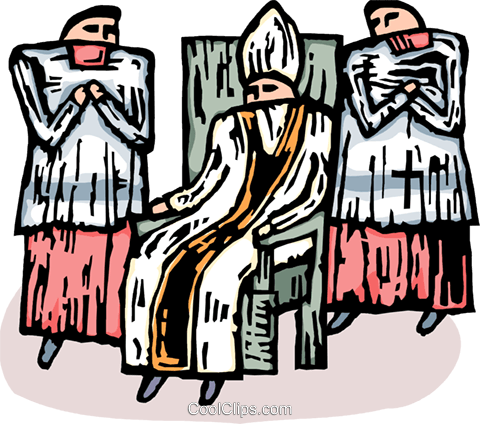 Bishop sitting in a chair with altar boys Royalty Free Vector Clip Art illustration vc065861