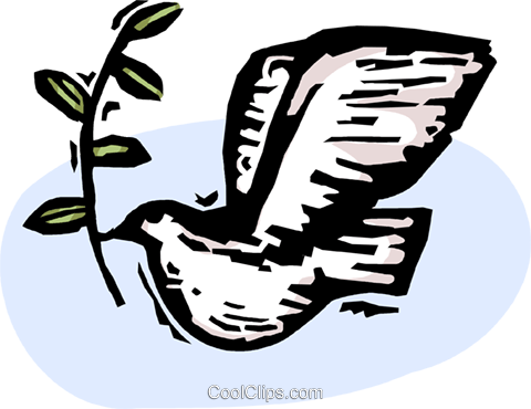 dove of peace with olive branch Royalty Free Vector Clip Art illustration vc065865