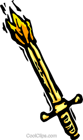 burning sword Royalty Free Vector Clip Art illustration vc065867