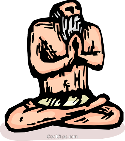 Indian practicing meditation, Holy man Royalty Free Vector Clip Art illustration vc065872