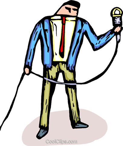 man holding a microphone Royalty Free Vector Clip Art illustration vc065873