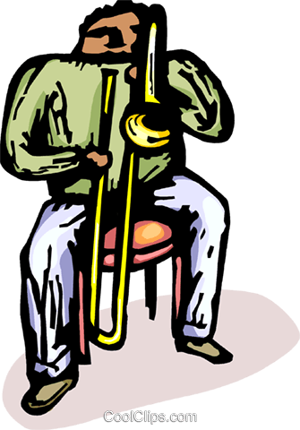 man playing the trombone Royalty Free Vector Clip Art illustration vc065881