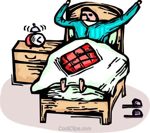 man waking up in bed with an alarm clock Royalty Free Vector Clip Art illustration vc065887