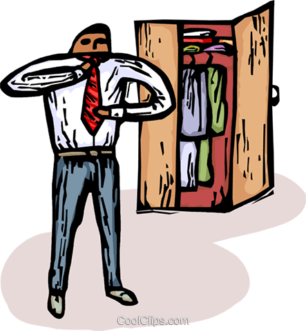 man getting dressed for work Royalty Free Vector Clip Art illustration vc065888