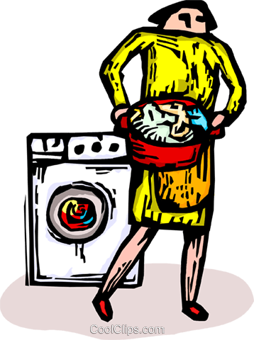 woman with load of laundry Royalty Free Vector Clip Art illustration vc065892