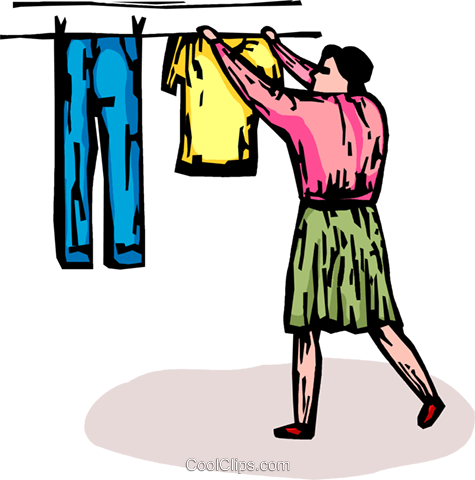 woman hanging clothes on a clothes line Royalty Free Vector Clip Art illustration vc065893