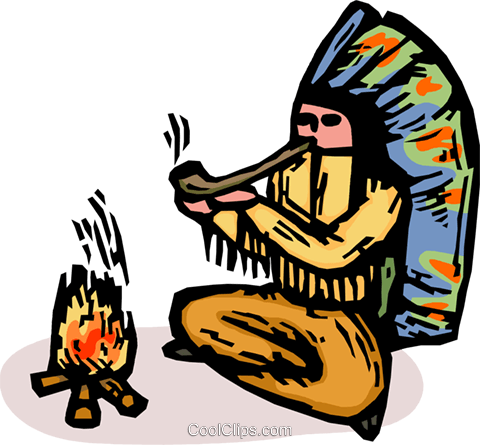 Indian chief smoking a pipe Royalty Free Vector Clip Art illustration vc065896
