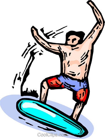 young man surfing Royalty Free Vector Clip Art illustration vc065899