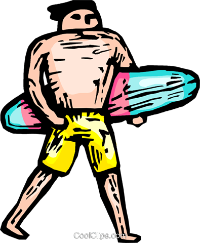 man with a surfboard Royalty Free Vector Clip Art illustration vc065904