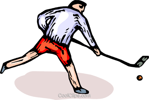 Man playing road hockey Royalty Free Vector Clip Art illustration vc065905