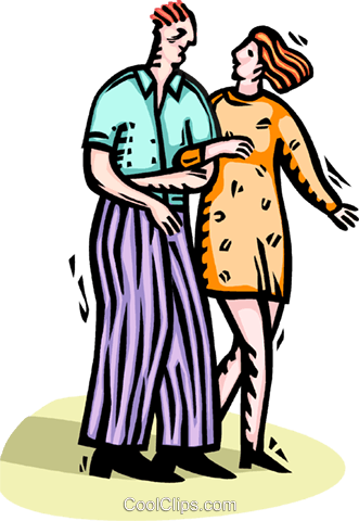 man and women walking arm-in-arm Royalty Free Vector Clip Art illustration vc065912