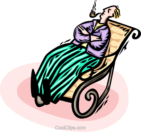 sitting in a rocking chair smoking a pipe Royalty Free Vector Clip Art illustration vc065915
