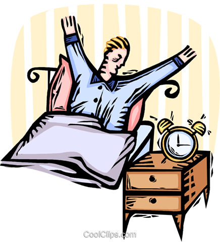 man waking up in the morning Royalty Free Vector Clip Art illustration vc065916