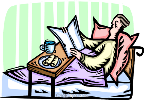man reading the morning newspaper in bed Royalty Free Vector Clip Art illustration vc065917