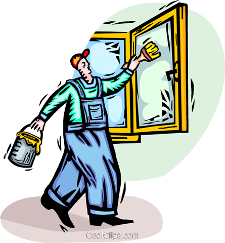 man painting a window frame Royalty Free Vector Clip Art illustration vc065920