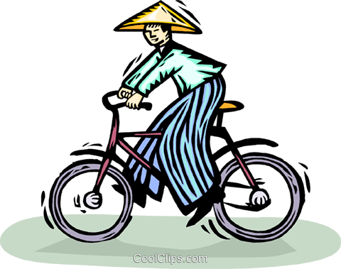 Oriental person riding a bicycle Royalty Free Vector Clip Art illustration vc065921