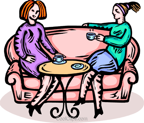 two women having a coffee Royalty Free Vector Clip Art illustration vc065923