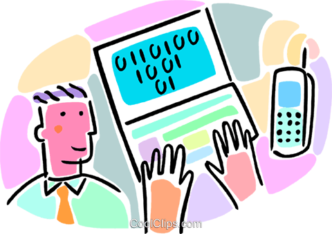 computer with cellular telephone Royalty Free Vector Clip Art illustration vc065955