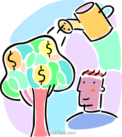 money tree concept with watering can Royalty Free Vector Clip Art illustration vc065974