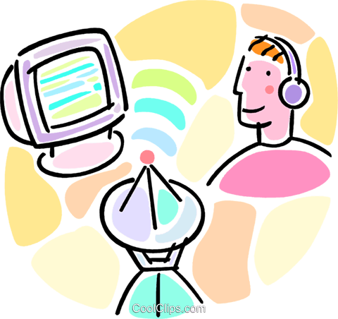 man with satellite dish and monitor Royalty Free Vector Clip Art illustration vc066034