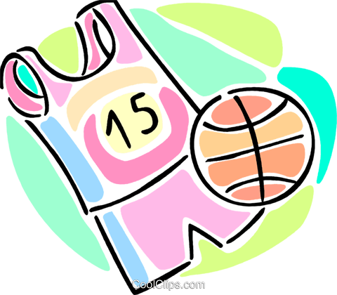 basketball uniform and a basketball Royalty Free Vector Clip Art illustration vc066065