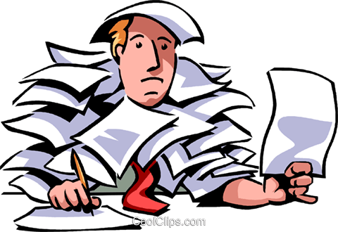 Doing Paperwork Royalty Free Vector Clip Art illustration vc066102