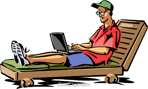 Man Relaxing In Beach Chair Royalty Free Vector Clip Art Illustration