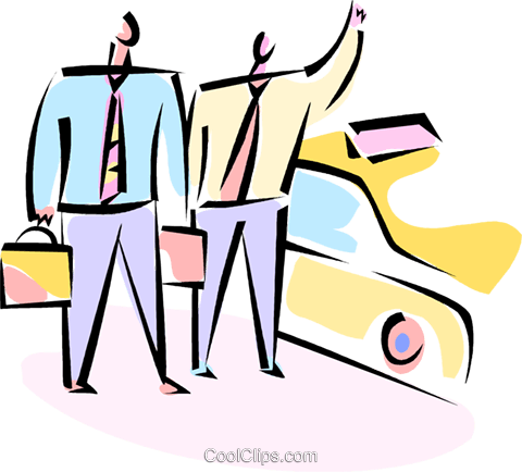 businessmen hailing a cab Royalty Free Vector Clip Art illustration vc066174
