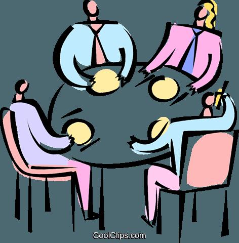 在一个商务会议餐 免版税矢量剪贴画插图