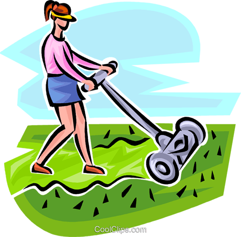 femme tondre la pelouse avec une tondeuse manuelle. Black Bedroom Furniture Sets. Home Design Ideas