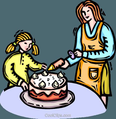Mutter Und Tochter Dekorieren Kuchen Vektor Clipart Bild Vc066327