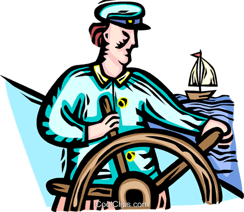 Captain at the helm of his ship Royalty Free Vector Clip Art illustration vc066378