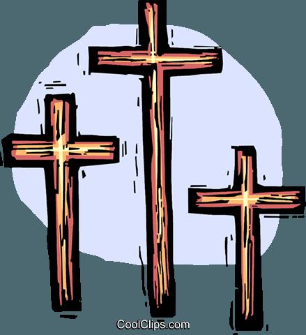 Three Crosses Royalty Free Vector Clip Art Illustration