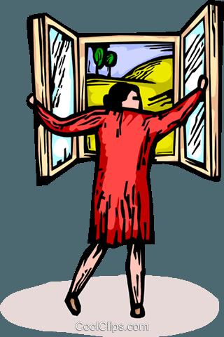 Femme qui ouvre une fen tre vecteurs de stock et clip art for Les charlots ouvre la fenetre